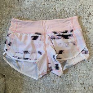 lululemon Pink Print Speed Short - Size 4